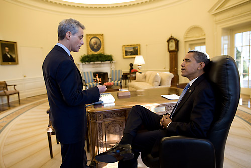 Barack Obama and Rahm Emanuel, now Mayor of Chicago
